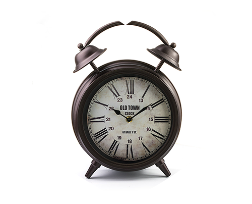 Винтаж Часы настольные «Будильник большой», тёмная медь