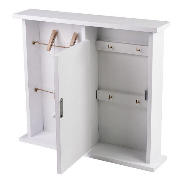 Ключница белая с дверцей и подвесами на прищепках ML-4739
