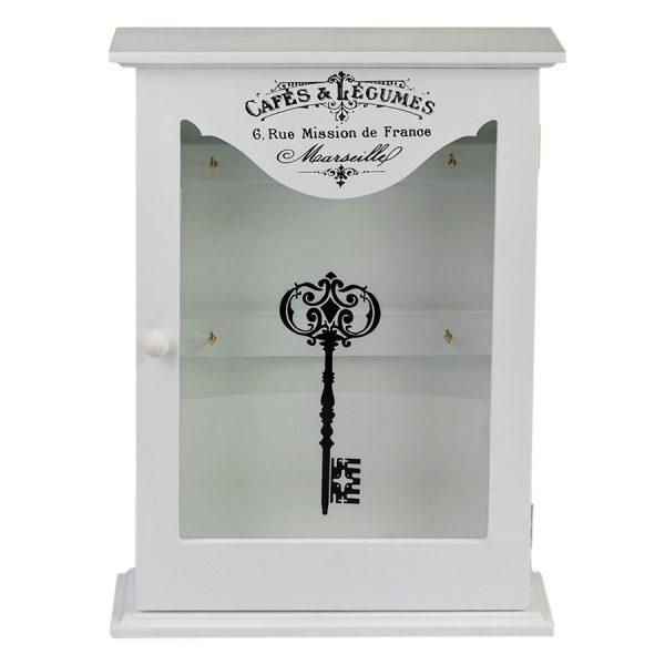 Ключница белая со стеклянной дверцей ML-4732