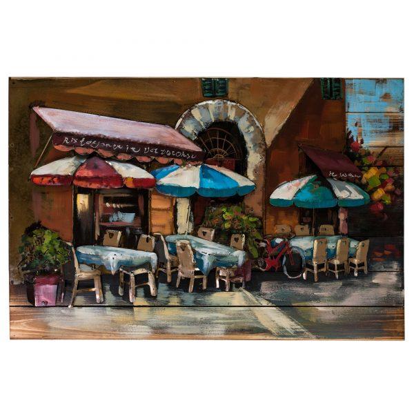 "Картина деревянная с металлом L18B45 ""Летнее кафе"" 90х60 см."
