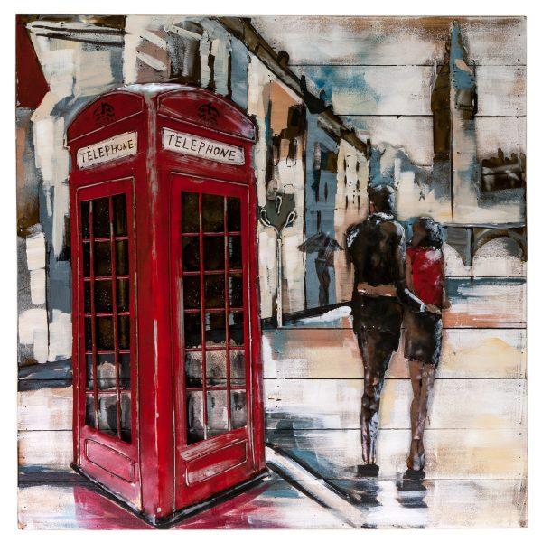 """Интерьерная деревянная картина с металлом """"Телефонная будка"""""""